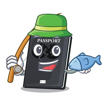Fishing black passport on the mascot table vector illustration