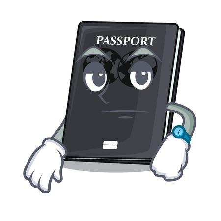 Esperando pasaporte negro aislado con la ilustración de vector de dibujos animados