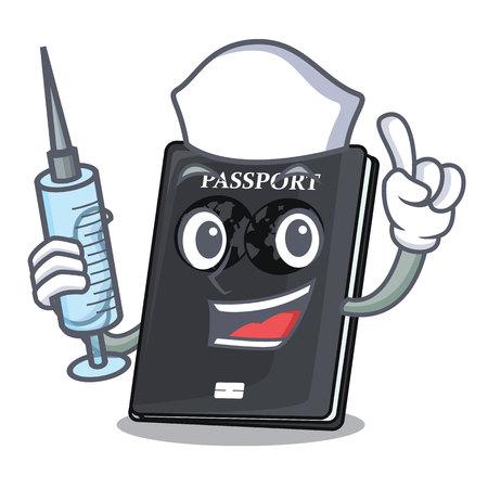 Nurse black passport in the shape character vector illustration