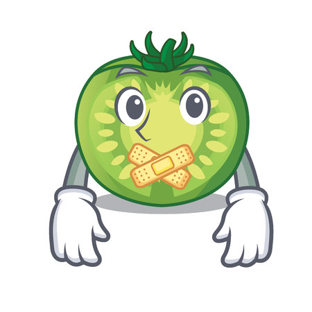 Silent green tomato slices isolated with mascot Illustration