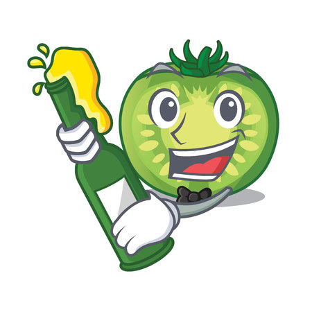 With beer green tomato slices isolated with mascot