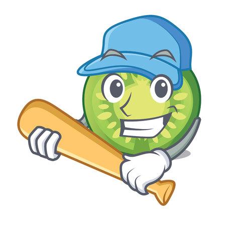 Playing baseball green tomato slice in cartoon bowl vector illustration