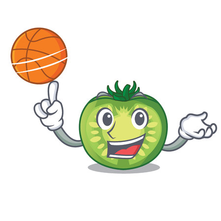 With basketball green tomato slice in cartoon bowl vector illustration