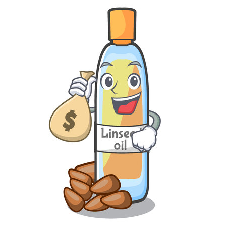 With money bag lenseed oil in a mascot bottle vector illustration Illustration