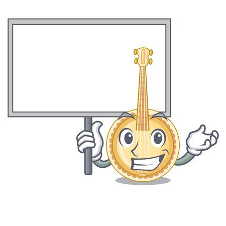 Bring board old banjo in the shape mascot vector illustration