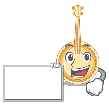 With board old banjo in the shape mascot vector illustration Imagens - 125014452