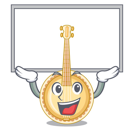 Up board old banjo in the shape mascot vector illustration