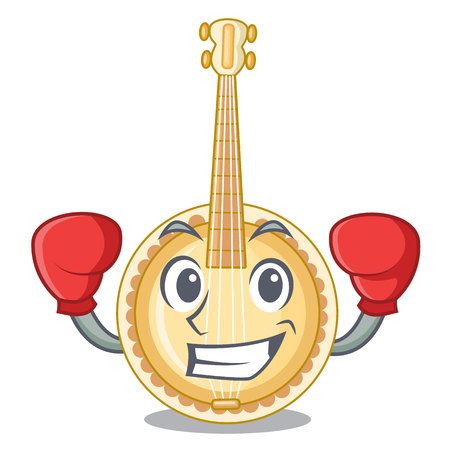 Boxing old banjo in the shape mascot vector illustration