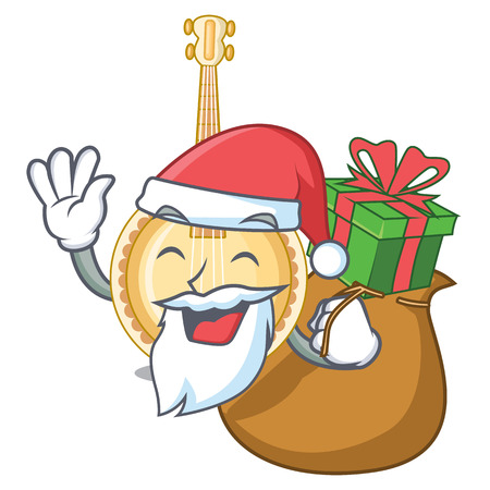 Santa with gift miniature banjo in the cartoon shapes vector illustaration