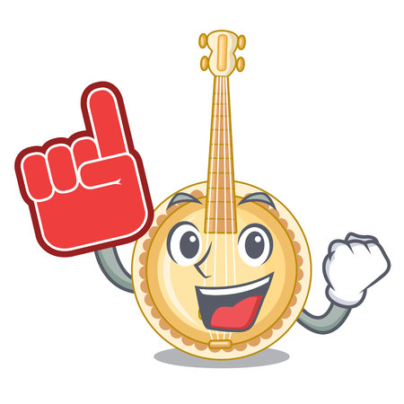 Foam finger miniature banjo in the cartoon shapes vector illustaration