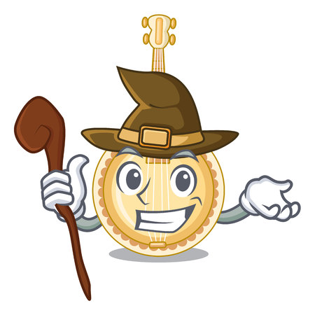 Witch banjo was isolated from the character vector illustartion