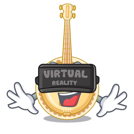 Virtual reality banjo was isolated from the character vector illustartion