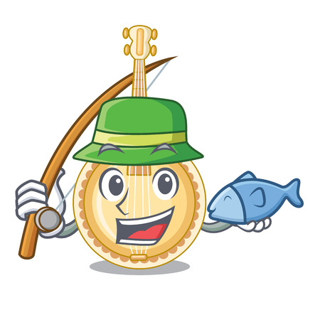 Fishing banjo was isolated from the character vector illustartion