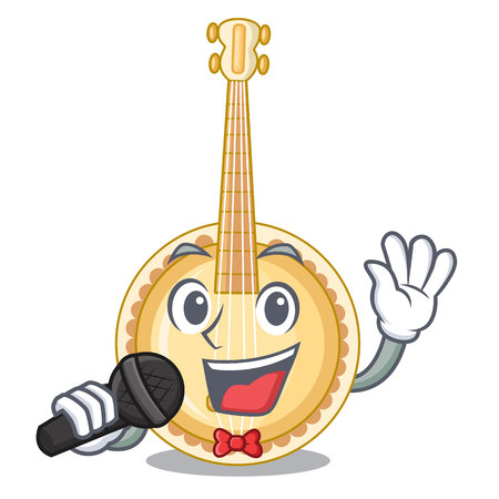 Singing banjo was isolated from the character vector illustartion