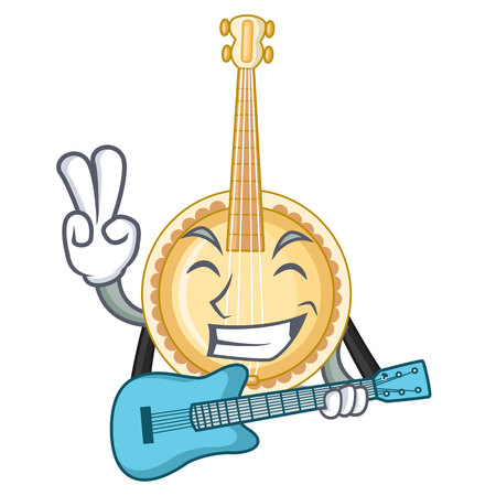 With guitar banjo was isolated from the character vector illustartion Illustration