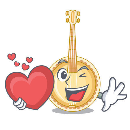 With heart banjo was isolated from the character vector illustartion