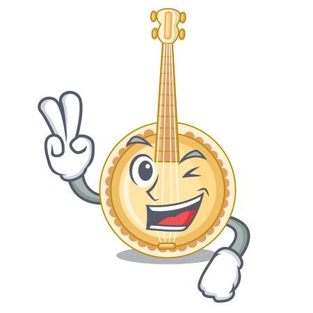 Banjo de dos dedos en la sala de música de dibujos animados Ilustración de vector