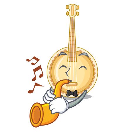 With trumpet banjo was isolated from the character vector illustartion