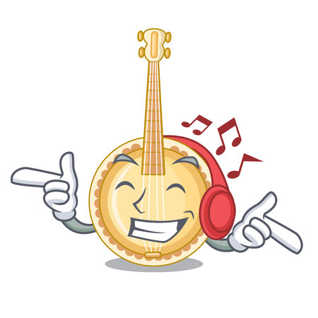 Listening music banjo was isolated from the character vector illustartion
