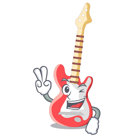 Two finger electric guitar in the cartoon shape vector illustaration