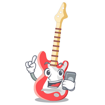 With phone miniature guitar electric in the cartoon shapes vector illustaertion