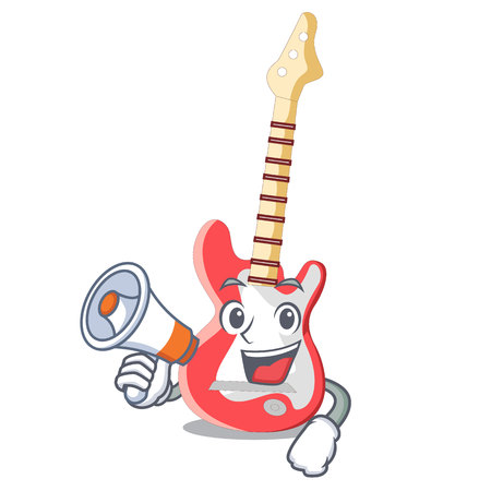 With megaphone miniature guitar electric in the cartoon shapes vector illustaertion