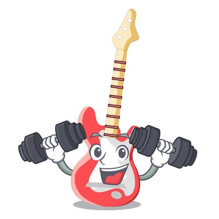 Fitness miniature guitar electric in the cartoon shapes vector illustaertion Illustration