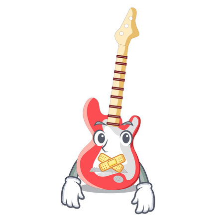 Silent electric guitar isolated with the mascot Illustration