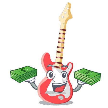 With money bag character electric guitar in wooden shape vector illustartion