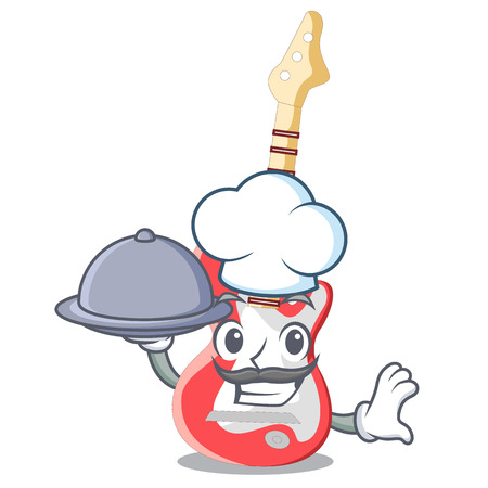 Chef with food character electric guitar in wooden shape vector illustartion