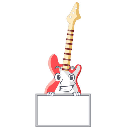 Grinning with board miniature guitar electric in the cartoon shapes vector illustaertion