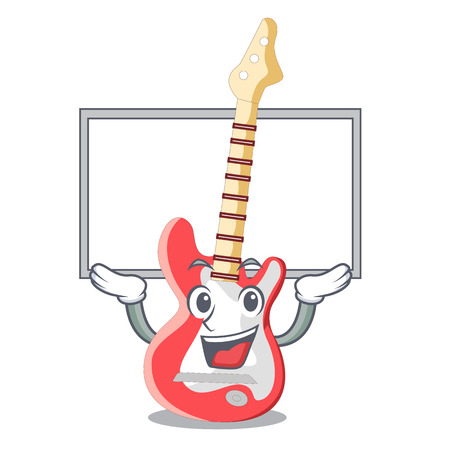 Up board miniature guitar electric in the cartoon shapes vector illustaertion