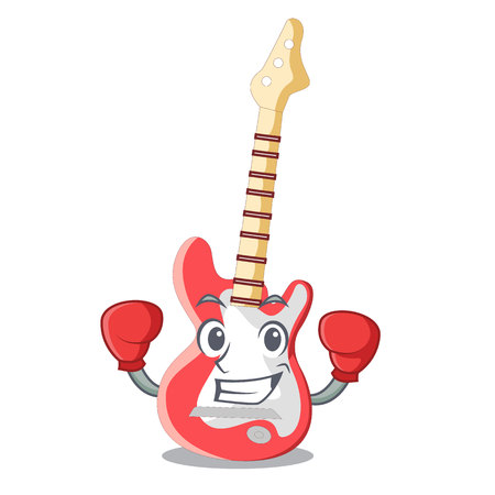 Boxing miniature guitar electric in the cartoon shapes vector illustaertion Illustration
