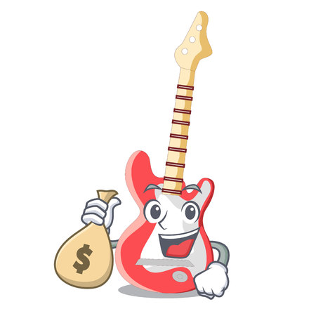 With money bag miniature guitar electric in the cartoon shapes vector illustaertion