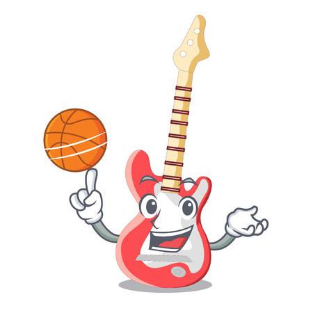 With basketball miniature guitar electric in the cartoon shapes vector illustaertion