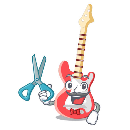 Barber miniature guitar electric in the cartoon shapes vector illustaertion