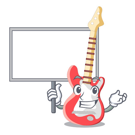 With board miniature guitar electric in the cartoon shapes vector illustaertion