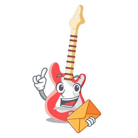 With envelope electric guitar in the cartoon shape vector illustaration