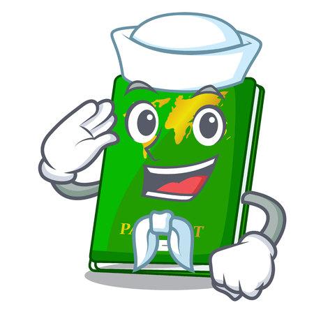Sailor green passport in a character bag vector illustration