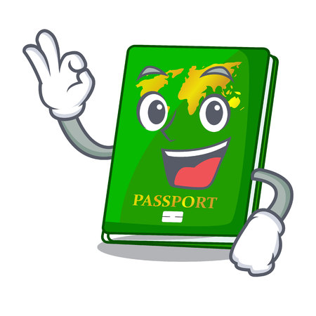 Okay green passport in the cartoon shape