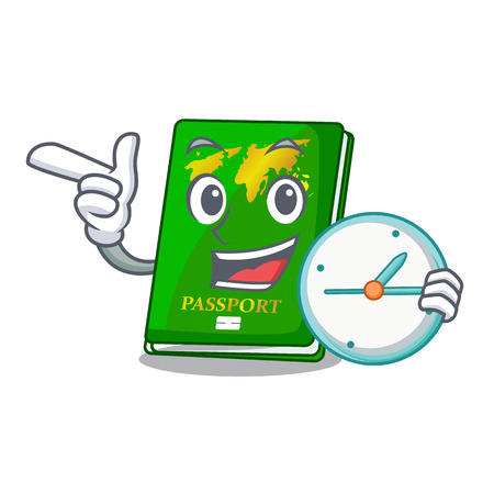 With clock green passport in the cartoon shape vector illustration Banque d'images - 125014650