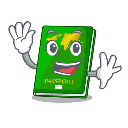 Waving green passport in the cartoon shape vector illustration