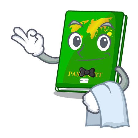 Waiter green passports isolated in the cartoons vector illustration