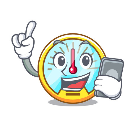 With phone speedometer in the a cartoon shape vectr illustration