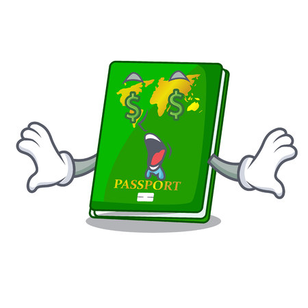 Money eye green passport on the mascot table vector illustration Illustration