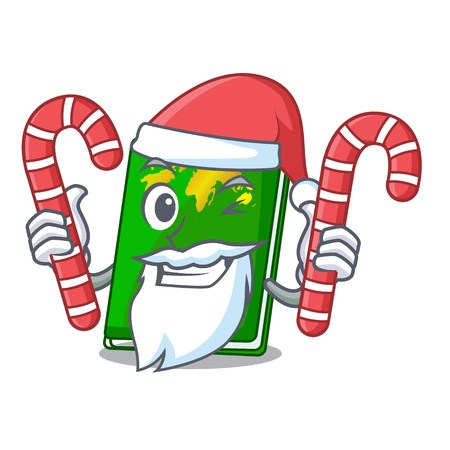 Santa with candy green passport on the mascot table vector illustration