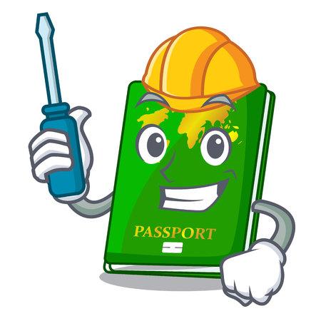 Automotive green passport on the mascot table vector illustration