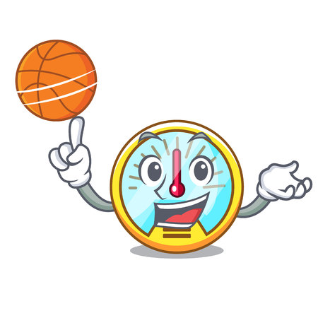 With basketball speedometer in the a cartoon shape vectr illustration