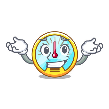 Grinning speedometer is displayed in character car vector ilustration
