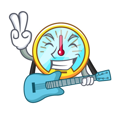 With guitar speedometer isolated with in the mascot vector illustration